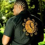 Men's short sleeved shirt with Nine Livez logo on back